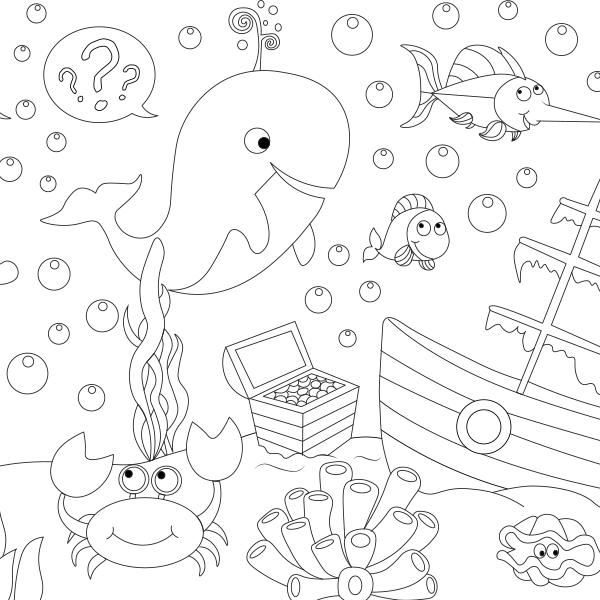 Denizaltında Yaşam Boyama Kağıdı Proll Dev Boyama Kağıtları