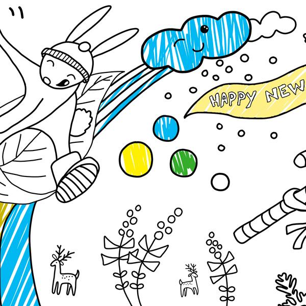 Proll Yeni Yıl Boyama Kağıdı Sınırlı Sayıda Proll Boyama Kağıtları