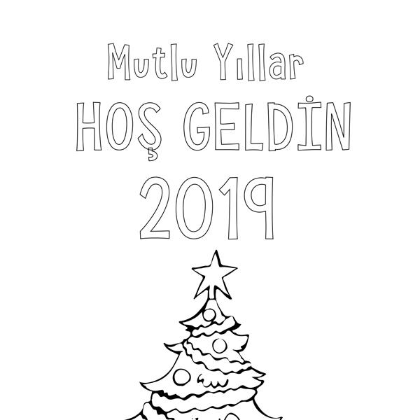 Boyanabilir Büyük Boy çam Yılbaşı Ağacı Posteri Proll Boyama