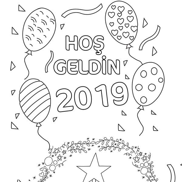 Hoşgeldin 2019 Yılbaşı Ağacı Proll Boyama Kağıtları