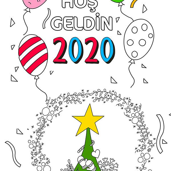 Hosgeldin 2020 Yilbasi Agaci Proll Dev Boyama Kagitlari
