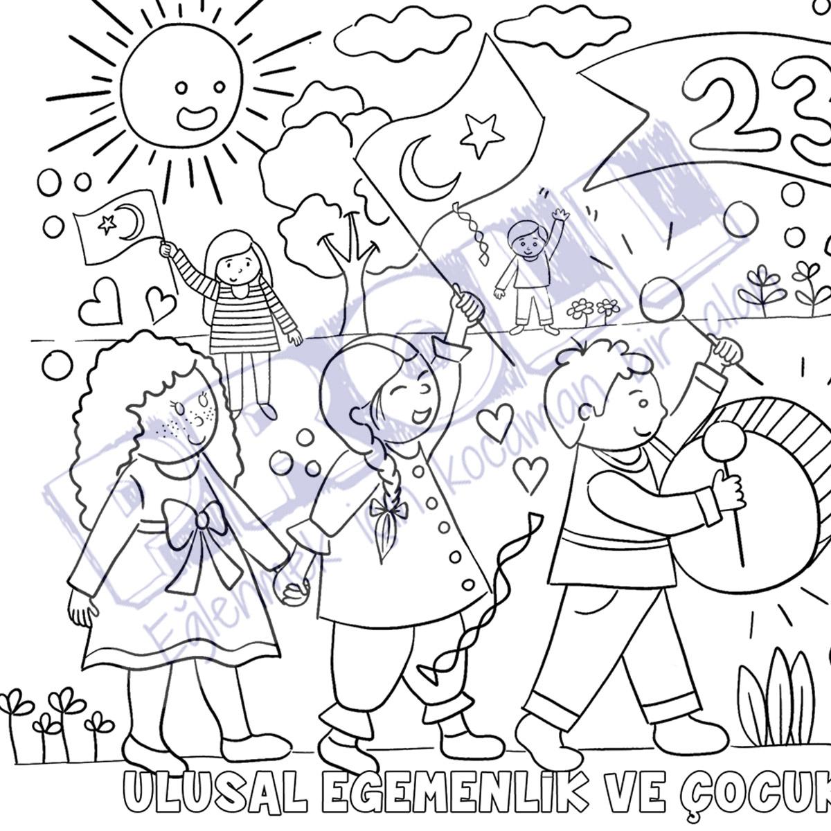 23 Nisan Boyama Kagidi Proll Dev Boyama Kagitlari